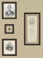 LINCOLN MEMORABILIA. This lot features a collection of printed material and ephemera relating to Lincoln's career and assassination, including: