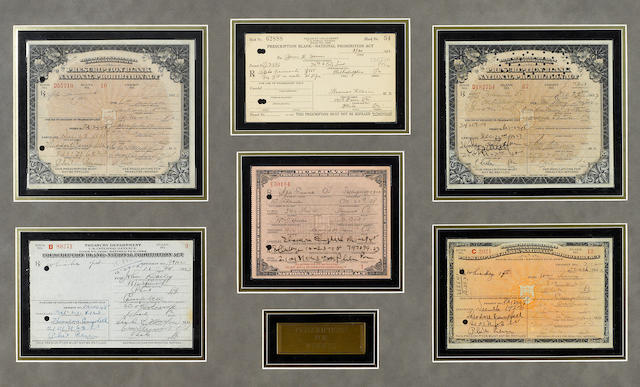 [LIQUOR.] A collection of historical documents related to liquor, framed (approximately 13 x 17 to 22 x 31 inches),  including:
