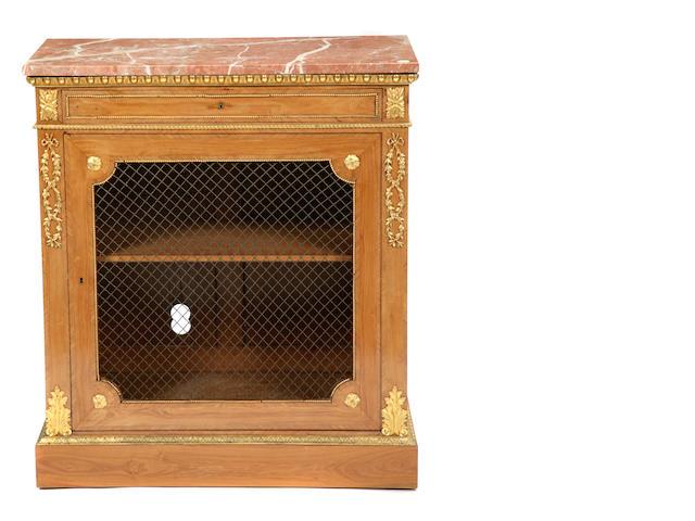 A French gilt bronze mounted walnut side cupboard