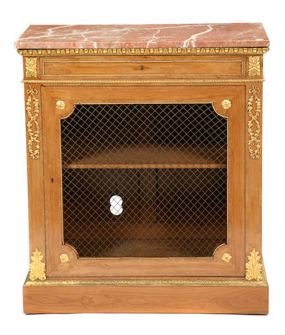 A French gilt bronze mounted walnut side cupboard