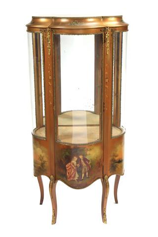 A Louis XV style gilt metal mounted Vernis Martin vitrine