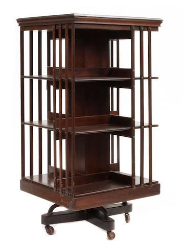 An Edwardian mahogany revolving bookcase