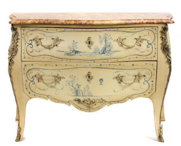 Two Louis XV style paint decorated bombé commodes