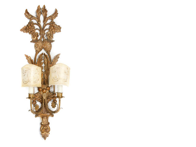 A pair of Louis XVI giltwood wall lights