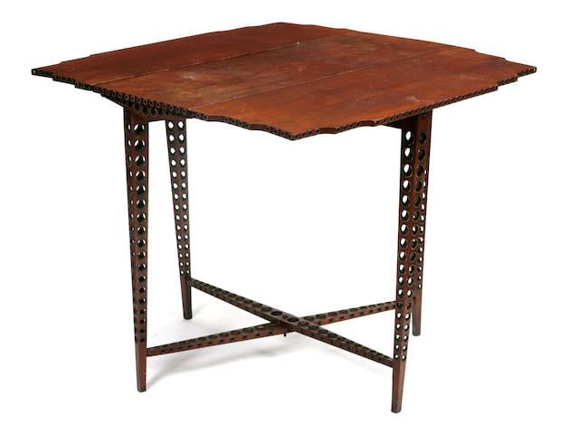 An unusual brass inlaid and pierced mahogany drop-leaf table late 19th/early 20th century