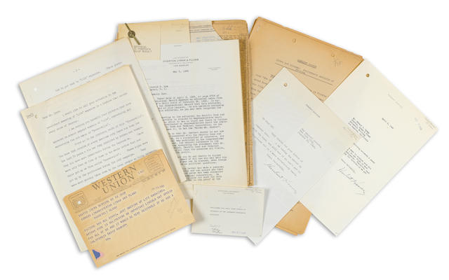 "HOOVER, HERBERT. 1874-1964.  2 Typed Letters Signed (""Herbert Hoover""), 2 pp, New York and n.p., January 15 and April 6, 1940,"
