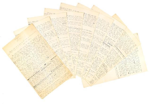 "GREY, ZANE. 1872-1939. Autograph Manuscript Signed (""Zane Grey""), 9 pp, recto only, folio, [1909],"