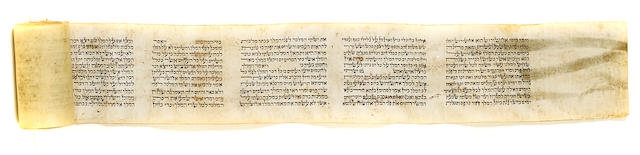 HEBREW MANUSCRIPT—ESTHER MEGILLAH. Manuscript scroll on vellum in a fine Hebrew hand, 2433 x 50 mm (in twelve sewn sections), [19th century?], being the text of the Book of Esther,