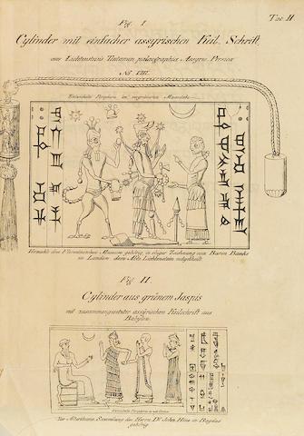 DOROW, WILHELM. 1970-1846.   Die Assyrische Keilschrift. BOUND WITH: Die Indische Mythologie. Wiesbaden: Ludwig Schellensberg, 1820 & 1821.<BR />