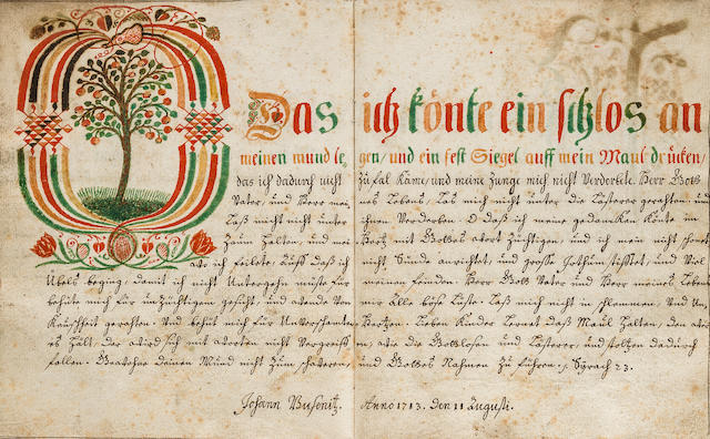 CALLIGRAPHY. BUSENITZ, JOHANN. Manuscript on paper, in German, Marienburg, August 2, 1713 and after.