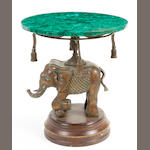 A patinated bronze and malachite figural side table