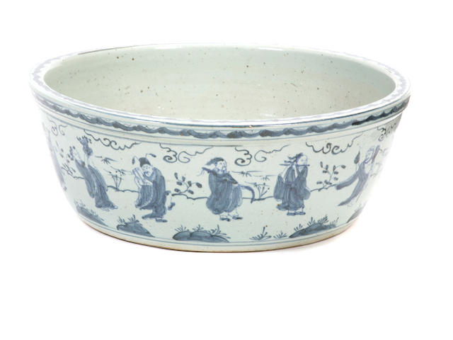 A large Chinese porcelain blue and white bowl