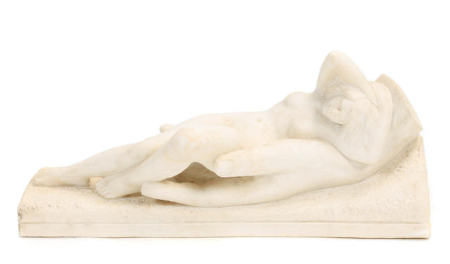 A carved marble figural group