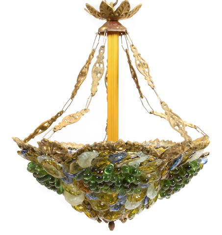 A pair of Italian Neoclassical style gilt bronze and colored glass chandeliers