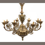A Regence style gilt bronze eight light chandelier