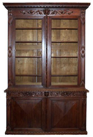 A Renaissance style oak bookcase