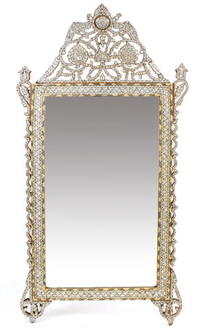 A Syrian mother of pearl inlaid mirror