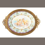 A Louis XV style gilt bronze mounted porcelain tray