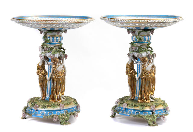 A pair of Neoclssical style paint decorated porcelain compotes