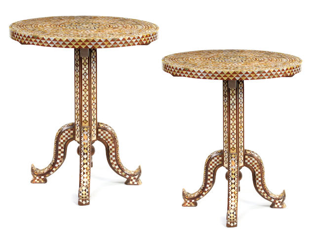 A pair of Moorish style shell inlaid tables