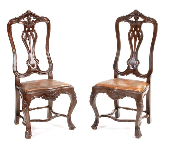 Two Portuguese leather upholstered side chairs