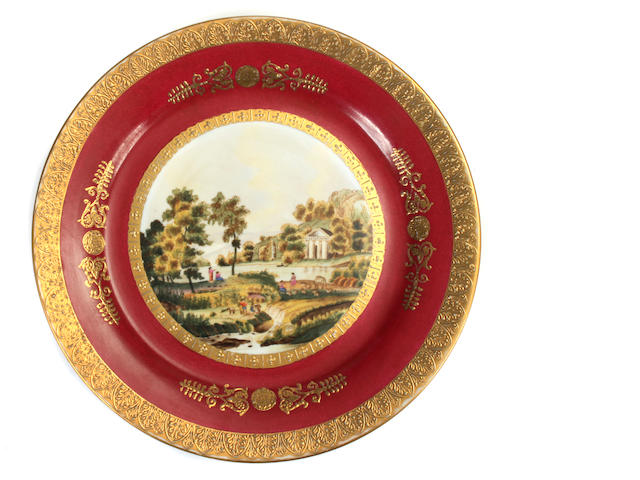 A set of twelve Vienna style paint decorated plates