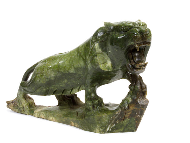 A Chinese hardstone carved model of a tiger