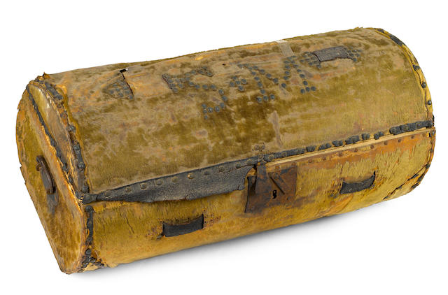 [MORSE, SAMUEL F.B. 1791-1872.] Hide-covered and wrought iron-mounted wooden barrel-form stagecoach trunk,