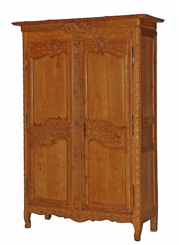 A Louis XVI bleached oak armoire, fourth quarter 18th century