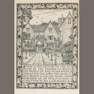 KELMSCOTT PRESS. MORRIS, WILLIAM. News from Nowhere: or, an Epoch of Rest, being some chapters from a Utopian Romance. Hammersmith: printed by William Morris at the Kelmscott Press, November 1892..