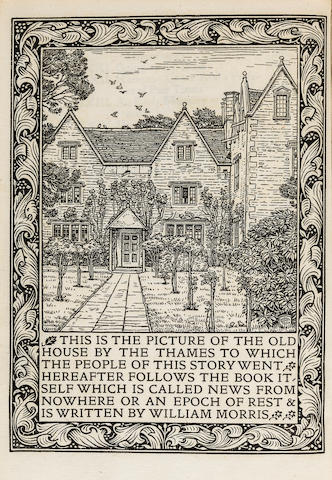 KELMSCOTT PRESS. MORRIS, WILLIAM. News from Nowhere: or, an Epoch of Rest, being some chapters from a Utopian Romance. Hammersmith: printed by William Morris at the Kelmscott Press, November 1892.<BR />