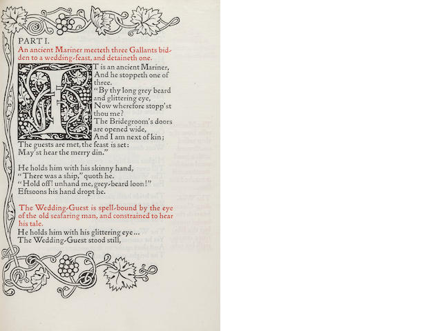 KELMSCOTT PRESS. COLERIDGE, SAMUEL TAYLOR. Poems Chosen out of the Works of Samuel Taylor Coleridge. Hammersmith: printed by William Morris at the Kelmscott Press, February, 1896.<BR />