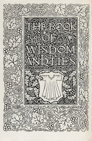 KELMSCOTT PRESS. ORBELIANI, SULKHAN SAB. The Book of Wisdom and Lies. Hammersmith: printed by William Morris at the Kelmscott Press, September, 1894.