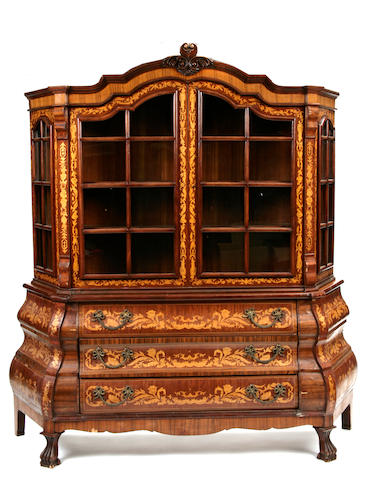 A Dutch marquetry display cabinet