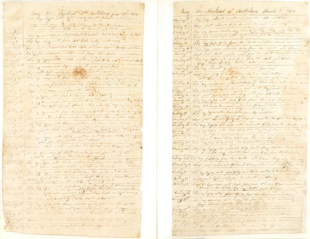 SAILING LOG. SOUTHWORTH, ANDREW, CAPTAIN. Manuscript logbook of the merchant brig William Howland, 59 pp, April 24, 1818-September 28, 1819,