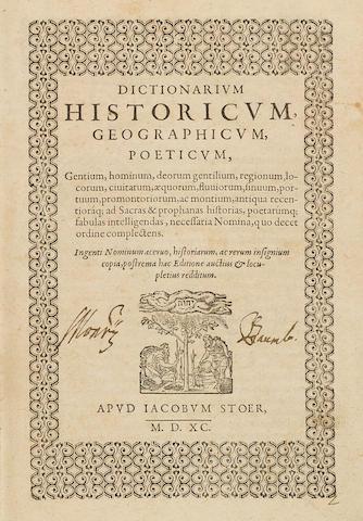 ESTIENNE, CHARLES. 1504-1564. Dictionarium historicum, geographicum, poeticum.... Geneva: Jacob Stoer, 1590.