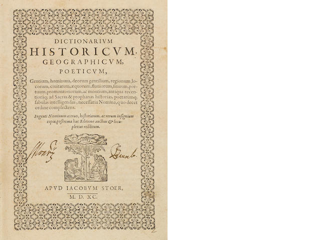 ESTIENNE, CHARLES. 1504-1564. Dictionarium historicum, geographicum, poeticum.... Geneva: Jacob Stoer, 1590.<BR />