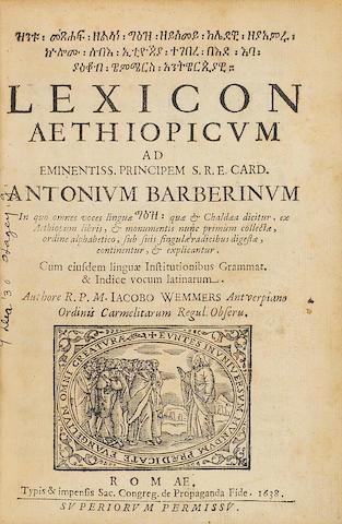 WEMMERS, JACOBUS.  Lexicon Aethiopicum.  Rome: Propaganda Fide, 1638.<BR />