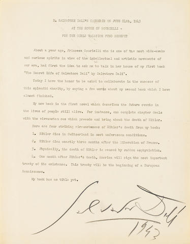 "DALI, SALVADOR. 1904-1989. Typed Manuscript Signed (""Salvador Dali"") and dated (""1943""), 1 p, titled"""