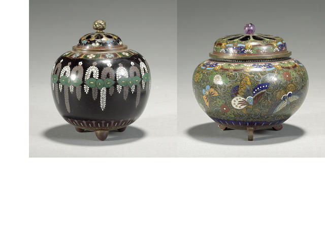 Two cloisonné enameled metal censers, koro  Meiji period
