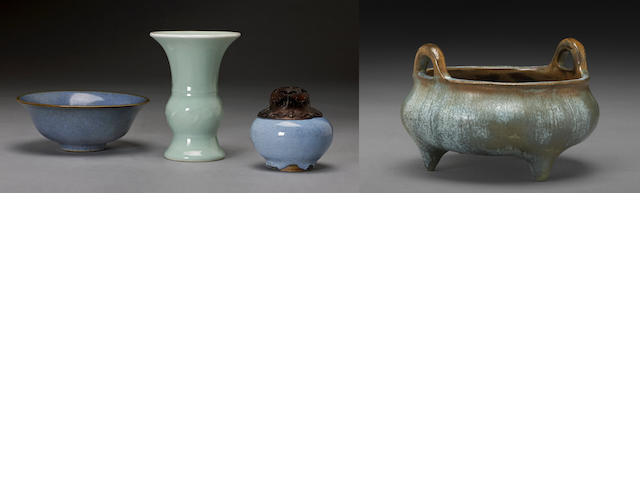 A group of four  monochrome glazed ceramics