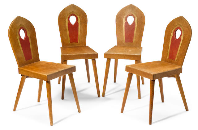 A set of four Bernard Maybeck carved and tinted oak side chairs early 20th century