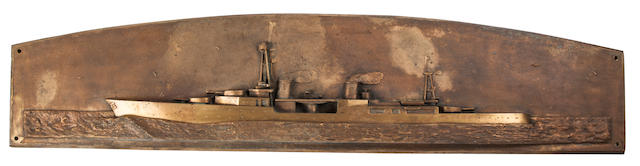 A cast bronze bas-relief of an American cruiser  circa 1944  11 x 48 in. (27.9 x 121.9 cm.)