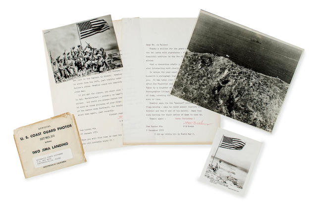 GROUP of LANDING PHOTOS & TWO NEWSPAPERS: WWII Complete Original Set of USN and USCG Iwo Jima photos; Philadelphia Evening Bulletin Announcing the Invasion of Iwo Jima dated February 19, 1945; WWII Military Newspaper STARS AND STRIPES Announcing the Invasion of Iwo Jima dated February 24, 1945