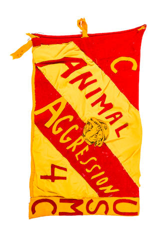 "WWII Marine Corps Cloth Flag - Banner - In the Marine Corps colors with ""ANIMAL AGGRESSION"" (sic) sewn on"
