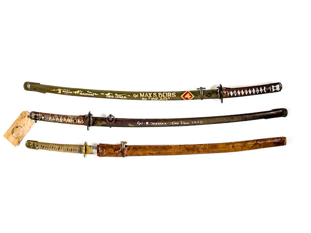 "Captured Japanese Samurai Sword captured on Iwo Jima Island: named, signed ""MAX the BEAR"" and ""IWO JIMA"" with 4th Division Patch"