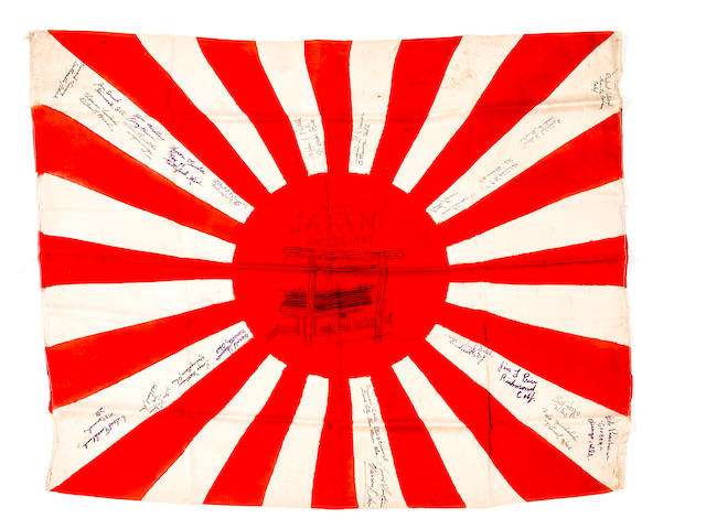 "Three Tokyo Surrender-Occupation Flags: ""LANDING IN JAPAN"" Flag + Japanese Flag dated September 25, 1945 the day Emperor Hirotito announced that Japan would become a Democracy"