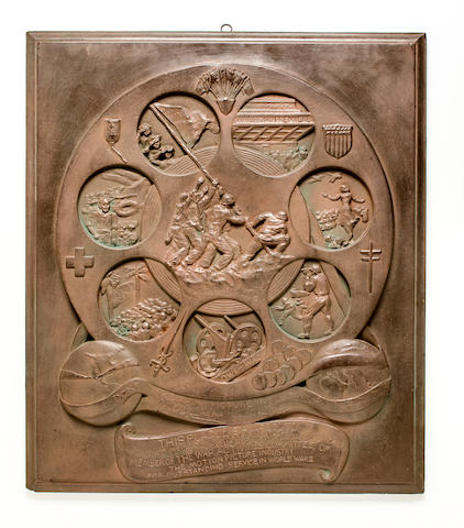 De Weldon's Original Plaster Rendering of the Film Reel Award Plaque to USO-Motion Picture Industry that was later cast in bronze for the 7th War Bond Drive