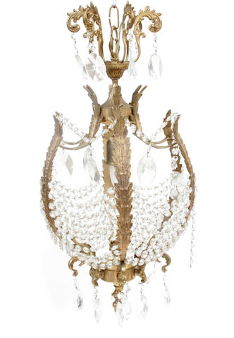 A Belle Époque gilt bronze and cut glass chandelier