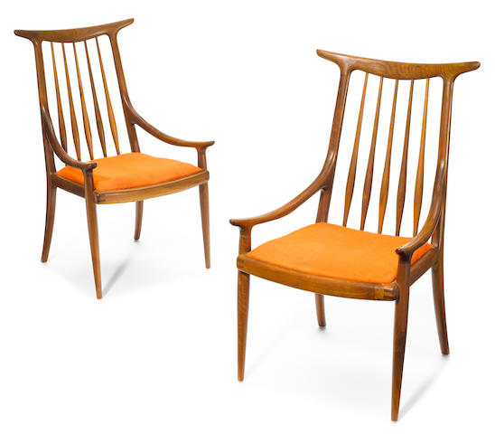 Sam Maloof (American, 1916-2009) A pair of Sam Maloof inlaid walnut and upholstered hornback chairs